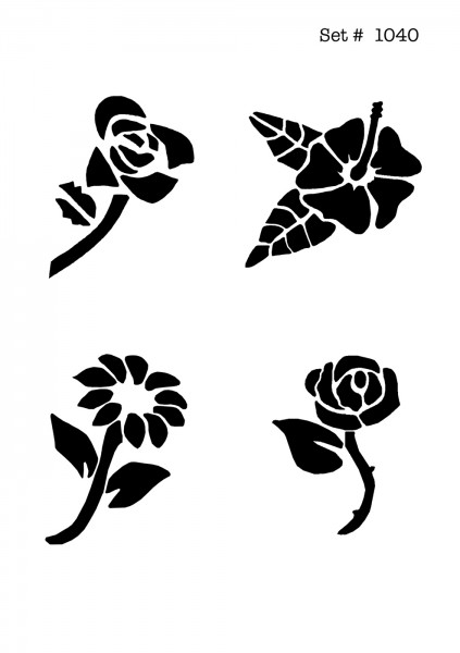 UNLIMITED STENCILS 4 selbstklebende DURA-LAR Airbrush Tattoo-Schablonen D1040