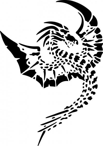 Selbstklebende Schablone für Glitzer-Tattoos oder für Airbrush-Tattoo DRACHE, DRAGON SP131