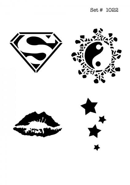 UNLIMITED STENCILS 4 selbstklebende DURA-LAR Airbrush Tattoo-Schablonen D1022