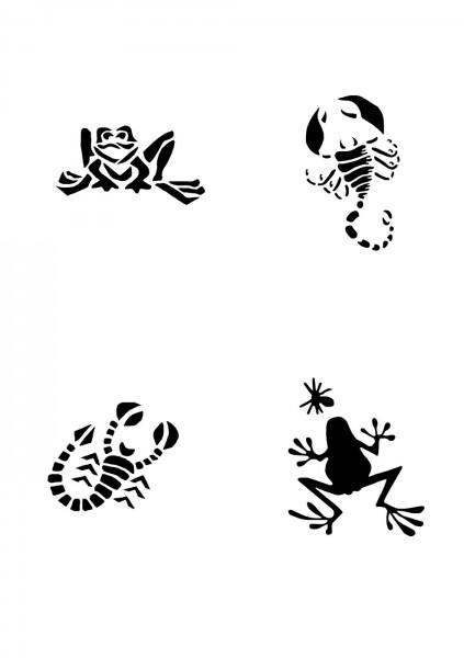 Glitzer Tattoo Schablonen Set für Kinder K09G