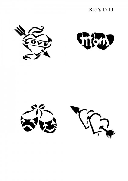 Kinder Airbrush Tattoo Schablone HERZ, LOVE, MOM